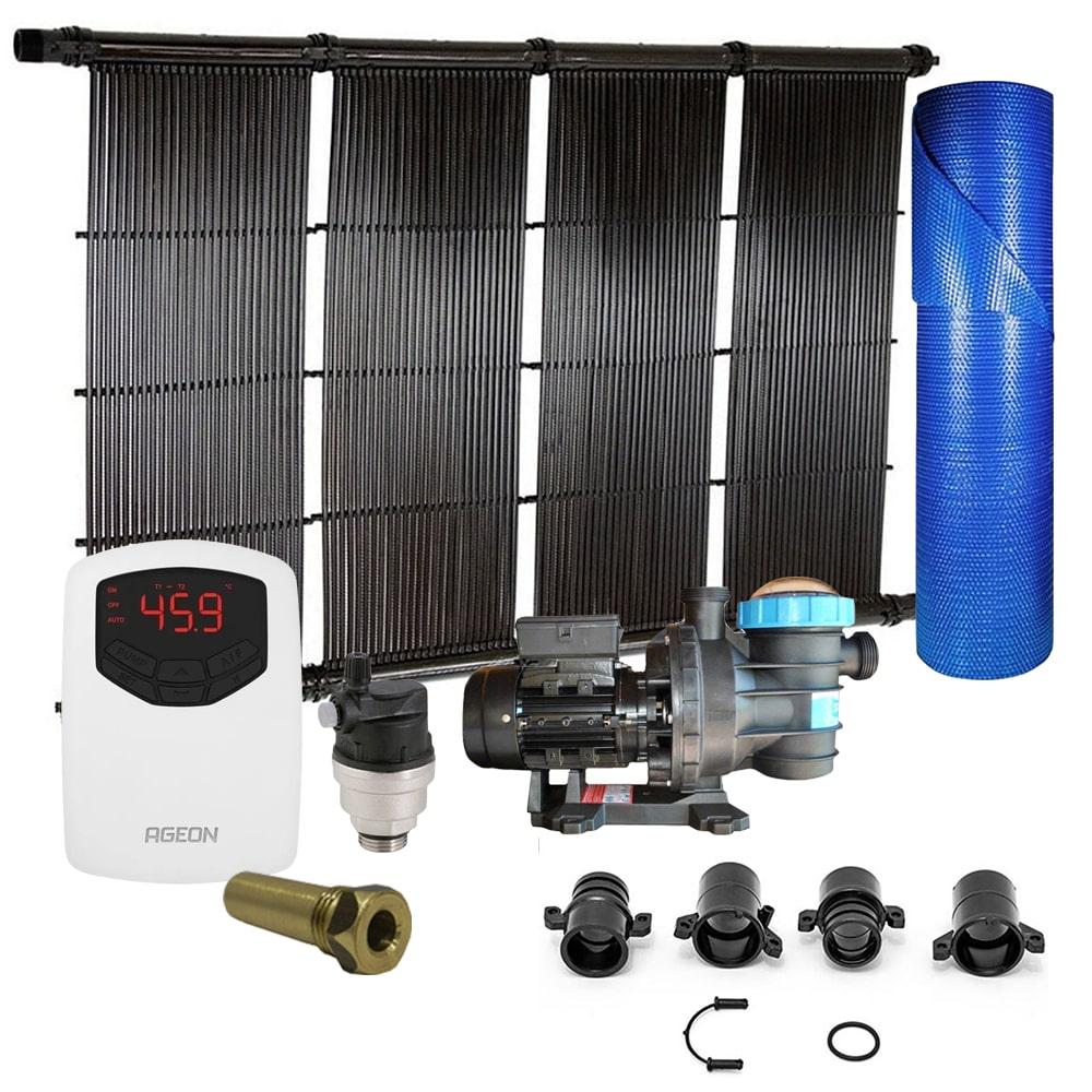 Kit Aquecedor Solar Piscina até 90m² ou 126.000L + Capa + Motor 3/4 CV
