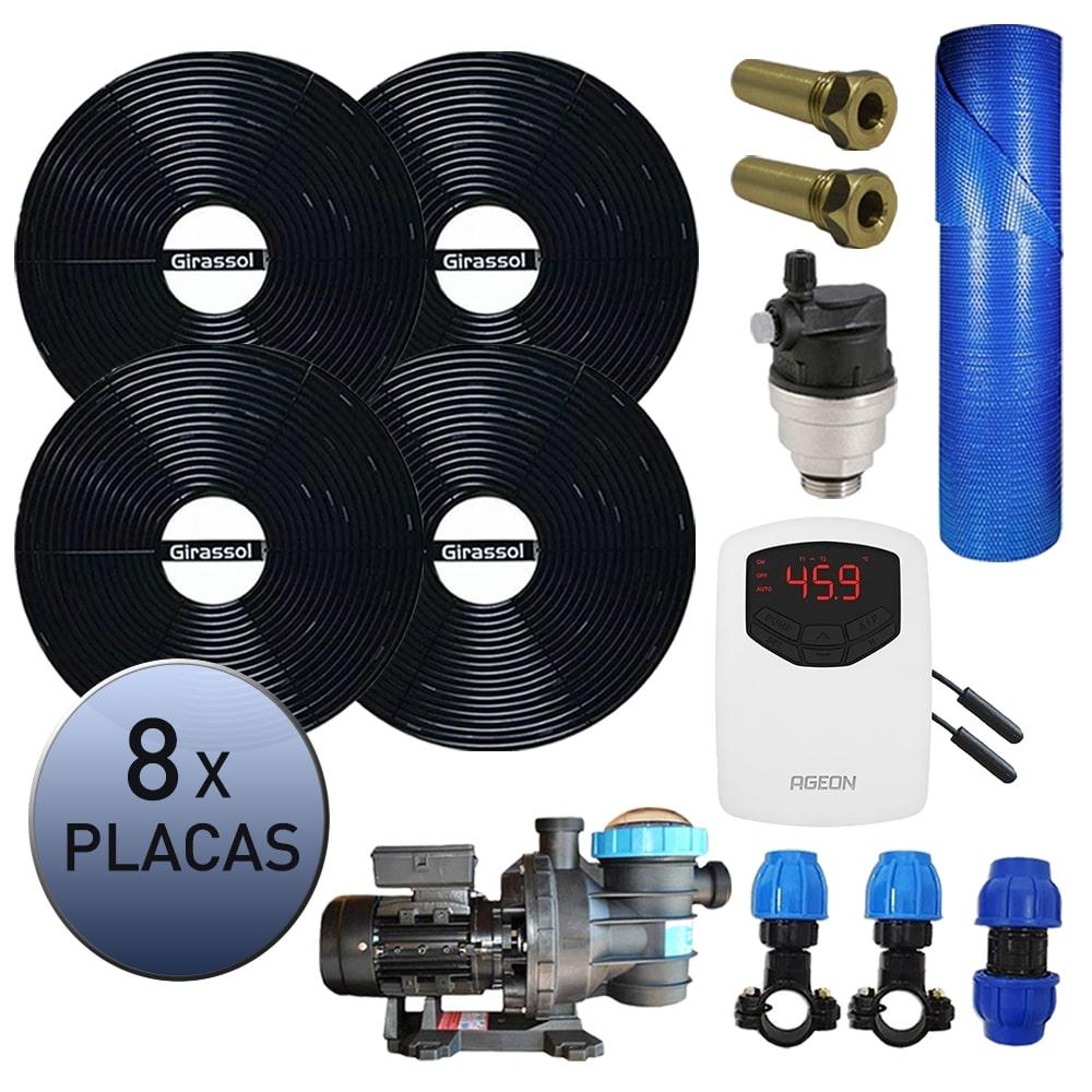 Kit Aquecedor Solar Piscina Girassol 32.000 L + Bomba + Capa