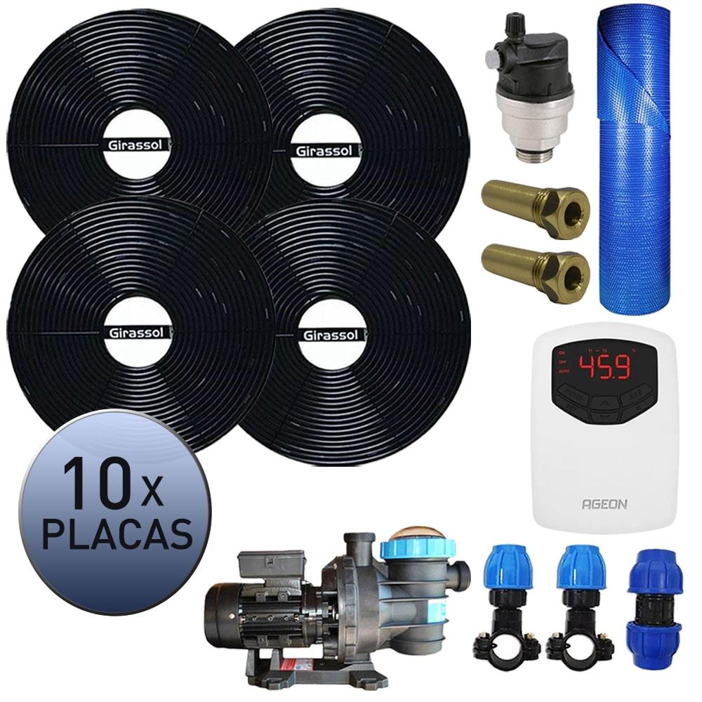 Kit Aquecedor Solar Piscina Girassol 40.000 L + Bomba + Capa