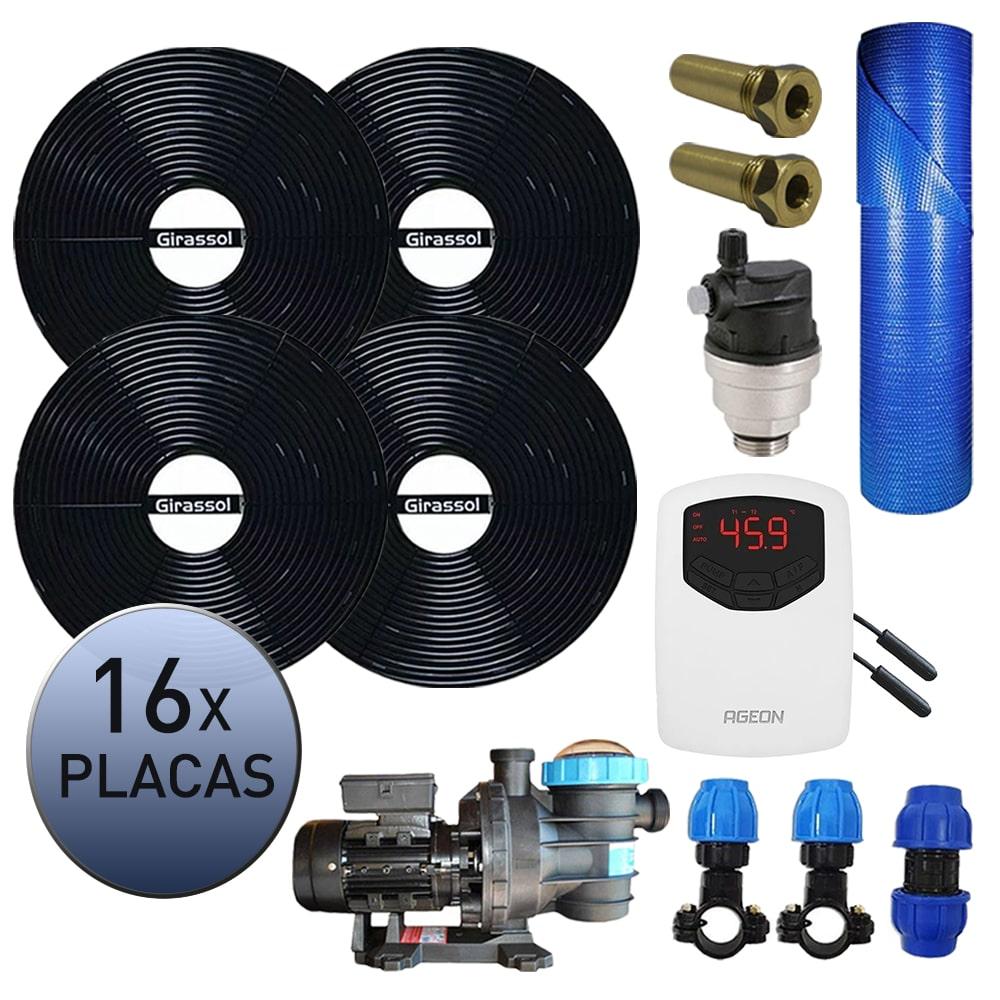 Kit Aquecedor Solar Piscina Girassol 64.000 L + Bomba + Capa