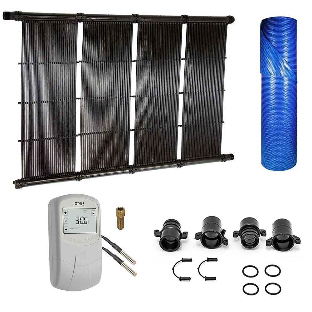 Kit Aquecimento Solar para Piscinas até 44m² + Capa térmica
