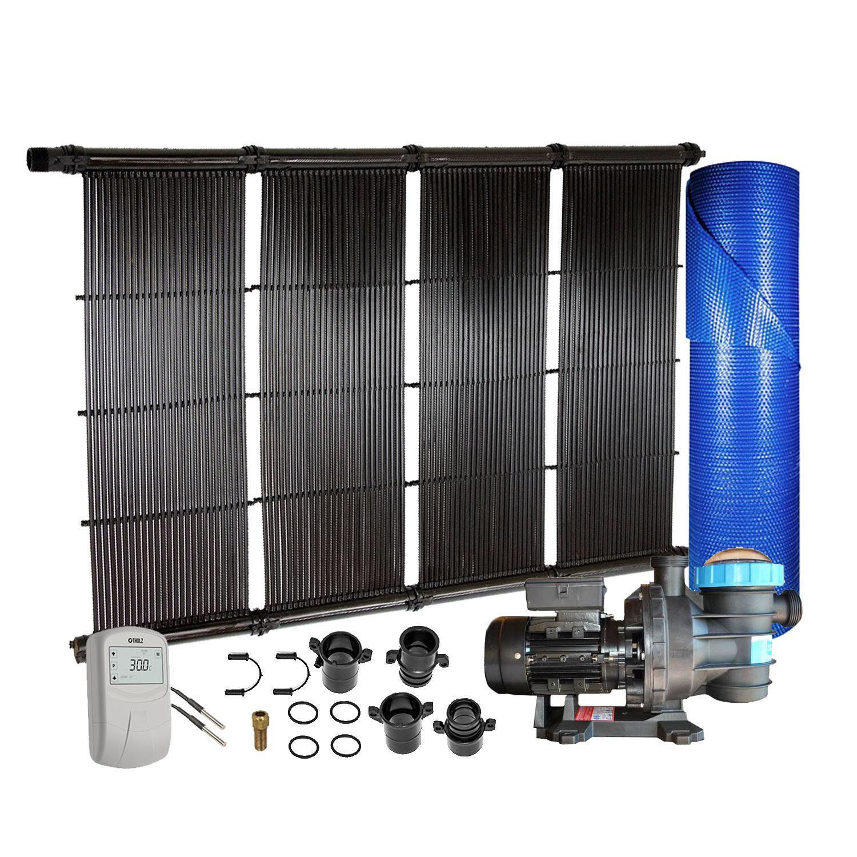 Kit Aquecedor Solar para Piscinas até 48m² ou 58.000L + Capa bolha + Motor 1/2 CV