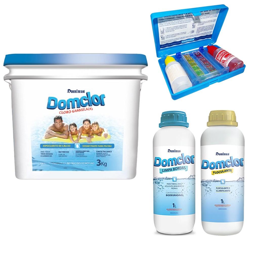Kit Cloro Piscina Tratamento  Clarificante (balde 3kg) - Domclor