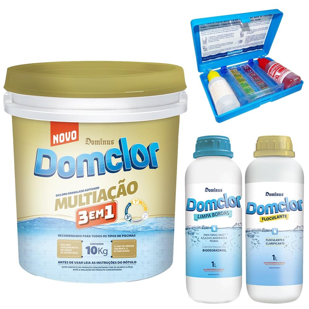Kit Cloro Piscina Tratamento Estojo Teste (balde 10kg) - Domclor