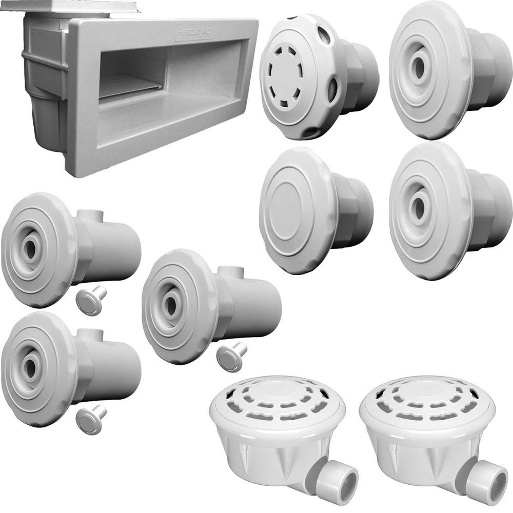 Kit Dispositivo Piscina Skimmer Ralo Aspiração Sucção Hidro