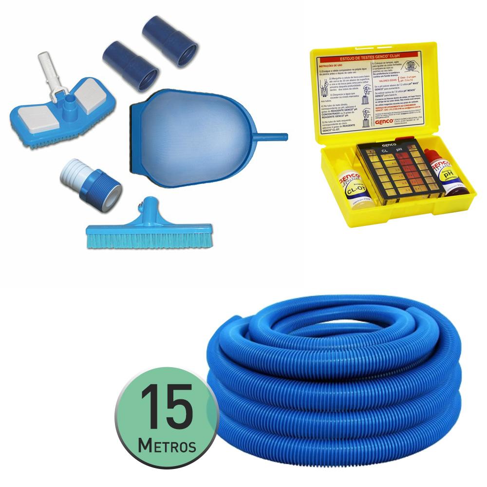 Kit Limpeza Piscina + 15 Metros Mangueira + Kit Teste PH