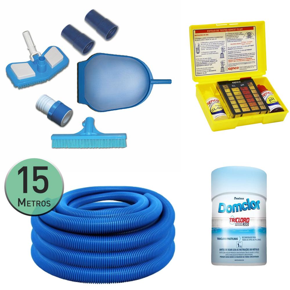 Kit Limpeza Piscina + 15m Mangueira + Kit Teste PH + Cloro