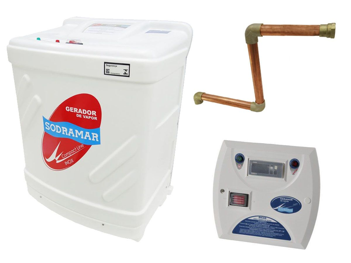 Kit Sauna Vapor 12kw 220v Bif + Kit Instalação + Quadro Digital Sodramar