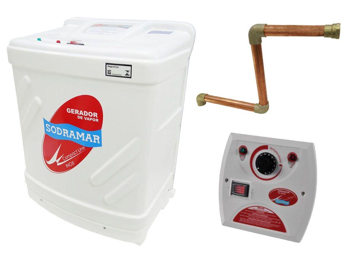 Kit Sauna Vapor 12kw 220v Tri + Kit Instalação + Quadro Analógico Sodramar