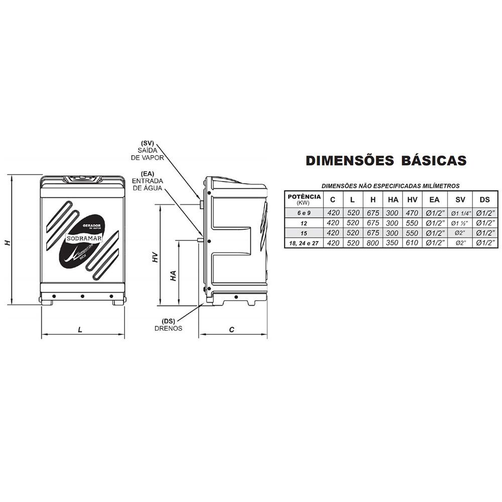 Kit Sauna Vapor 15kw 220v Tri + Kit Instalação + Quadro Analógico Sodramar