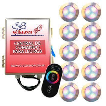 Led Piscina - Kit 10 Led RGB 12W Inox Divina Lux com Central e Controle