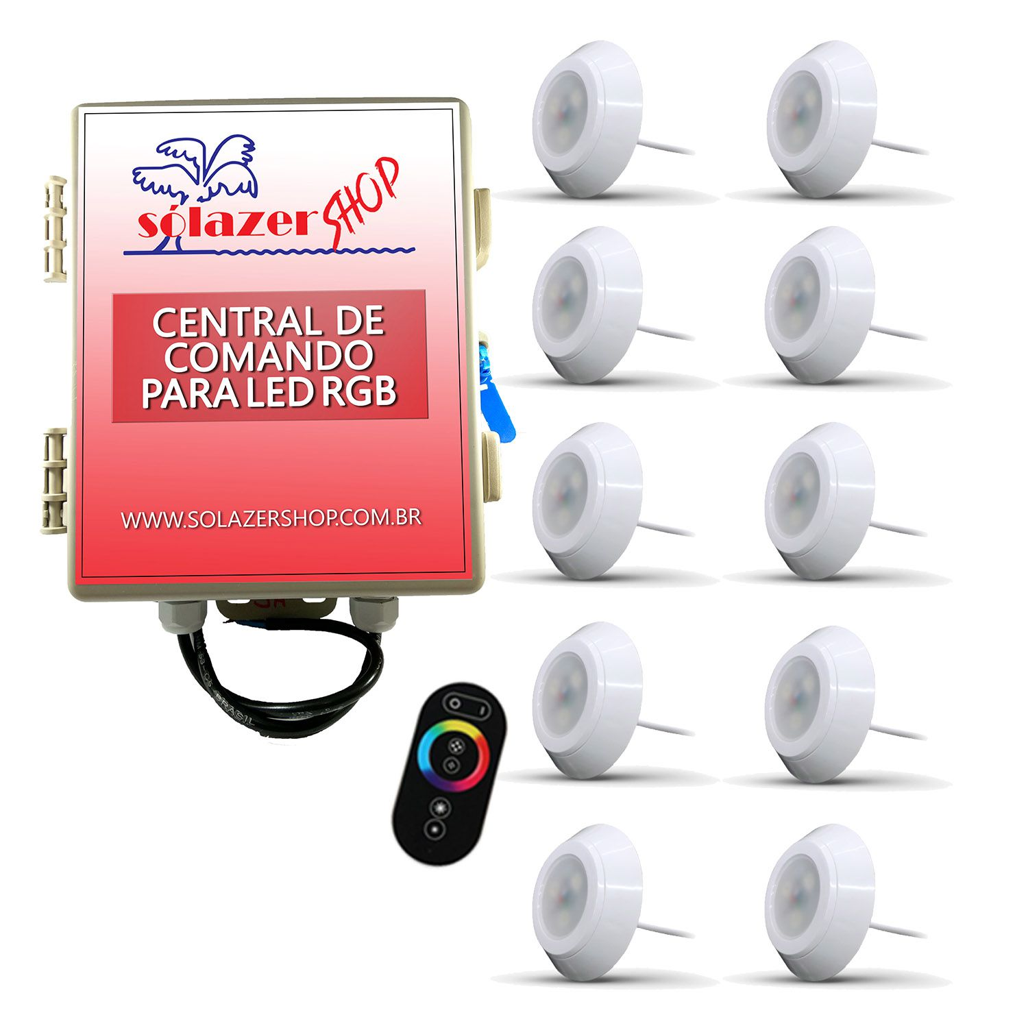 Led Piscina - Kit 10 Led RGB 9W ABS Divina Lux com Central e Controle