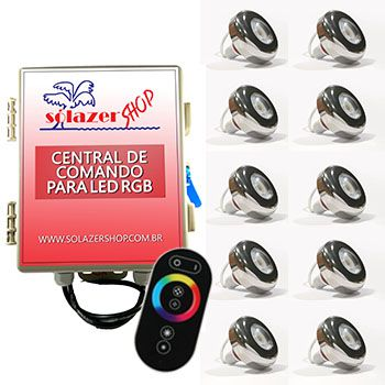 Led Piscina - Kit 10 Led Tholz 6W Inox RGB com Central e Controle Touch