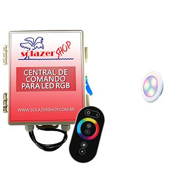 Kit 1 Led Piscina RGB 6W ABS Divina Lux + Central + Controle
