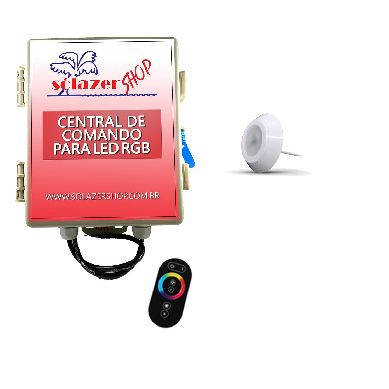 Led Piscina - Kit 1 Led RGB 9W ABS Divina Lux com Central e Controle