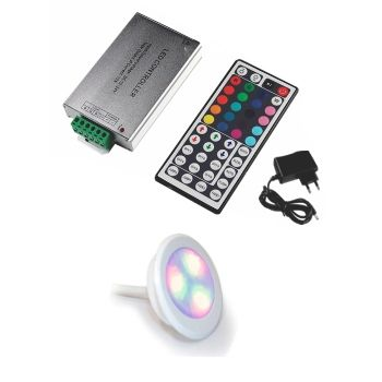 Led Piscina - Kit 1 Led RGB COLORIDO 9W com Central Compacta