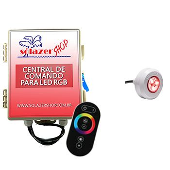 Led Piscina - Kit 1 Led Tec Light ABS RGB com Central e Controle Touch