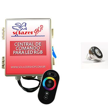Led Piscina - Kit 1 Led Tholz 6W Inox RGB com Central e Controle Touch