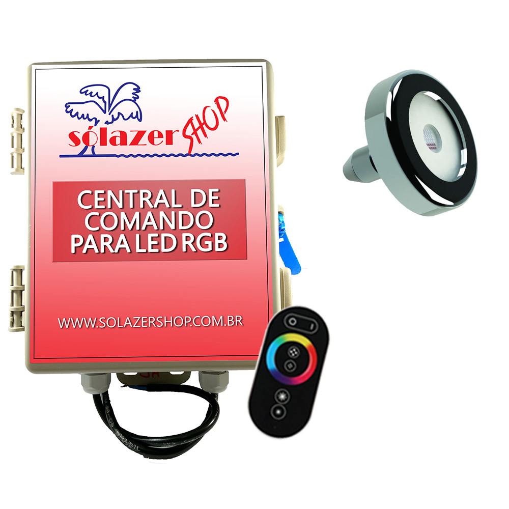 Led Piscina - Kit 1 Tholz Inox RGB 18W + Central + Controle Touch