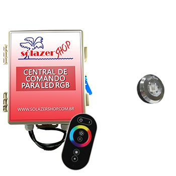 Kit 1 Tiny Led Piscina Inox RGB + Central + Controle Touch