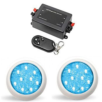 Led Piscina - Kit 2 Led Monocromático 9w com Central e Controle