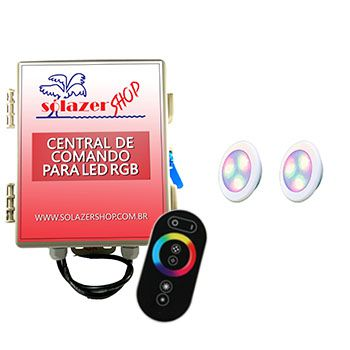 Led Piscina - Kit 2 Led RGB 6W ABS Divina Lux com Central e Controle