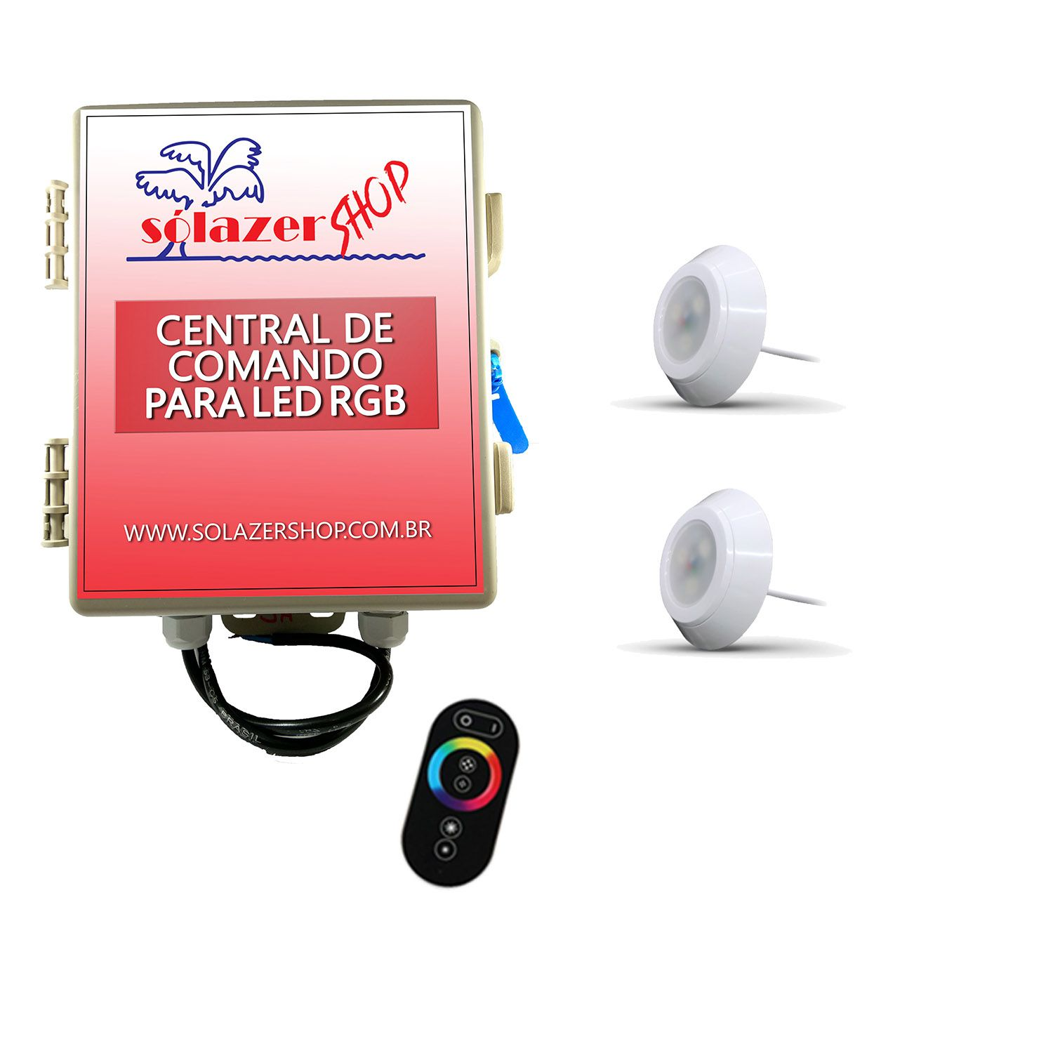 Led Piscina - Kit 2 Led RGB 9W ABS Divina Lux com Central e Controle