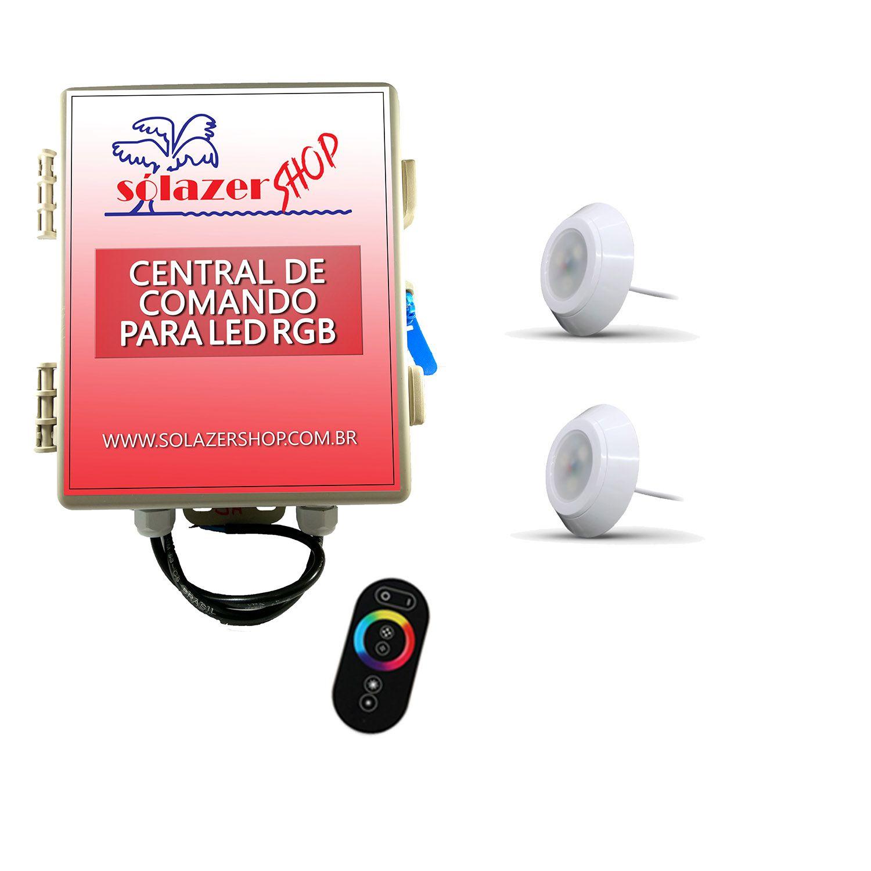 Led Piscina - Kit 2 Led RGB 9W ABS Divina Lux com Central e Controle
