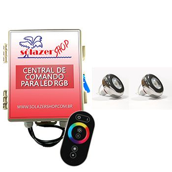 Led Piscina - Kit 2 Led Tholz 6W Inox RGB com Central e Controle Touch