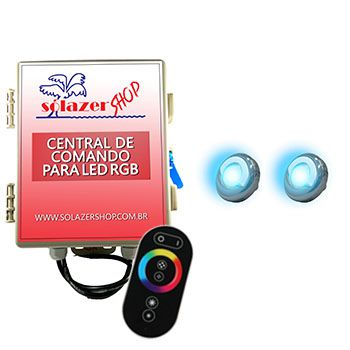 Led Piscina - Kit 2 Led Tholz 9W Inox RGB com Central e Controle Touch