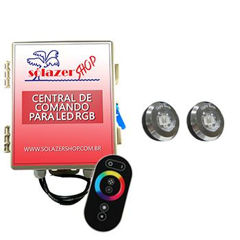 Led Piscina - Kit 2 Tiny Led INOX RGB com Central e Controle Touch