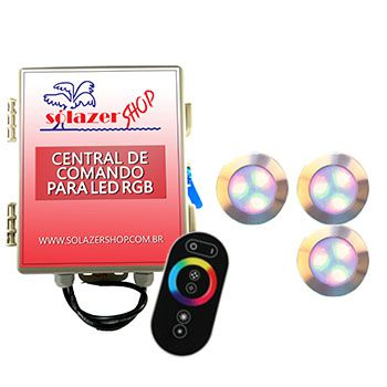 Led Piscina - Kit 3 Led RGB 12W Inox Divina Lux com Central e Controle
