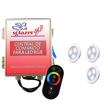 Kit 3 Led Piscina RGB 6W ABS Divina Lux + Central + Controle