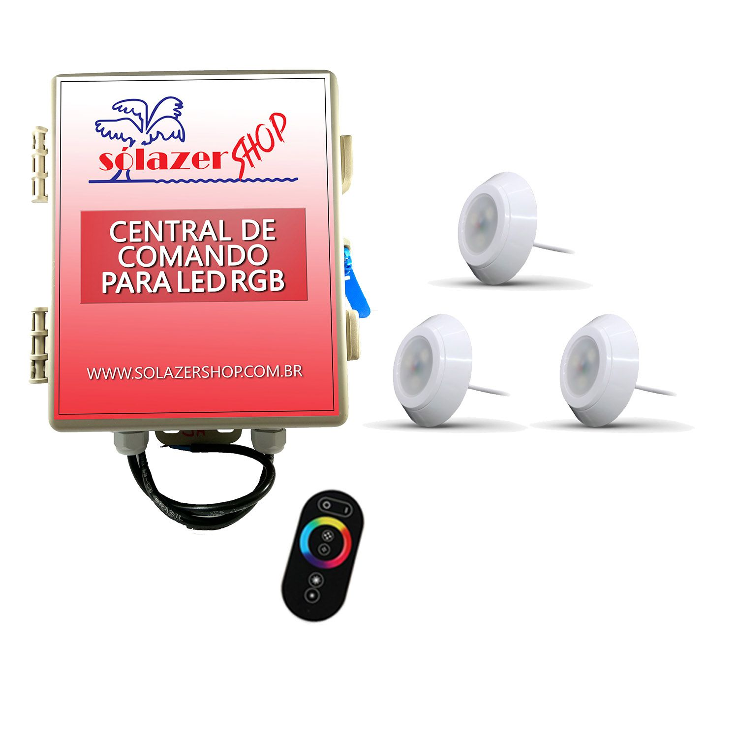 Kit 3 Led Piscina RGB 9W ABS Divina Lux + Central + Controle