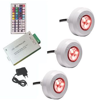 Led Piscina - Kit 3 Led Tec Light ABS RGB com Central Compacta