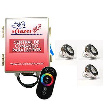Led Piscina - Kit 3 Led Tholz 6W Inox RGB com Central e Controle Touch