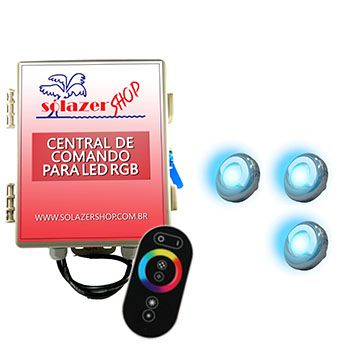 Led Piscina - Kit 3 Led Tholz 9W Inox RGB com Central e Controle Touch