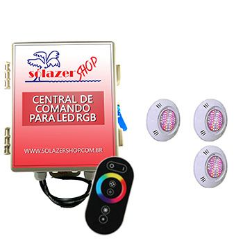Kit 3 Led Piscina Pratic SMD + Central + Controle - Sodramar