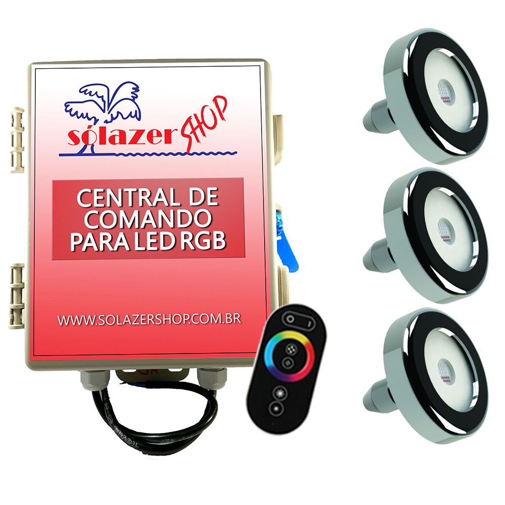 Led Piscina - Kit 3 Tholz Inox RGB 18W + Central + Controle Touch