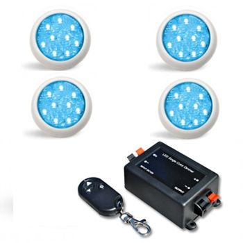 Led Piscina - Kit 4 Led Monocromático 9w com Central e Controle