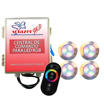 Led Piscina - Kit 4 Led RGB 12W Inox Divina Lux com Central e Controle