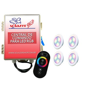 Led Piscina - Kit 4 Led RGB 6W ABS Divina Lux com Central e Controle