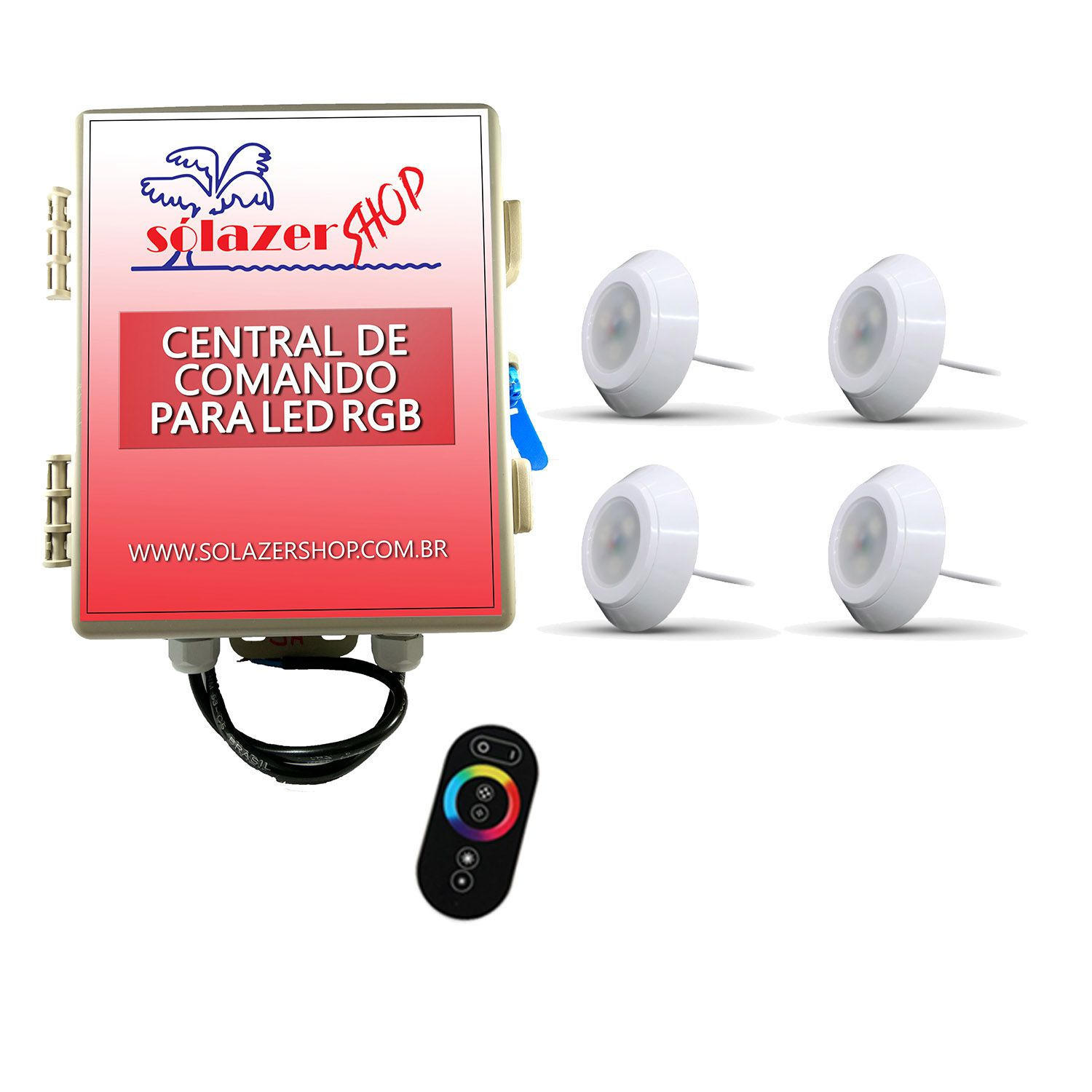 Led Piscina - Kit 4 Led RGB 9W ABS Divina Lux com Central e Controle