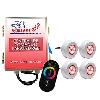 Led Piscina - Kit 4 Led Tec Light ABS RGB com Central e Controle Touch