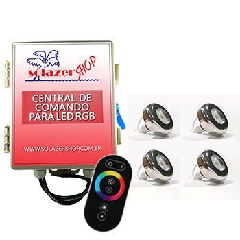 Kit 4 Led Piscina Inox RGB 6W + Central + Controle - Tholz