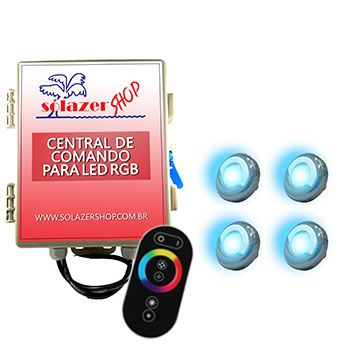 Led Piscina - Kit 4 Led Tholz 9W Inox RGB com Central e Controle Touch