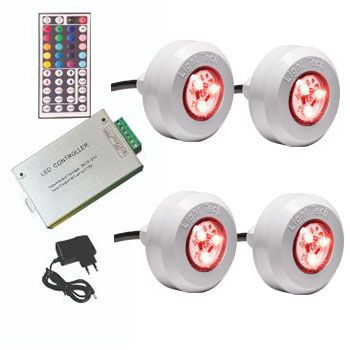 Led Piscina - Kit 4 Leds RGB  COLORIDO com Central Compacta
