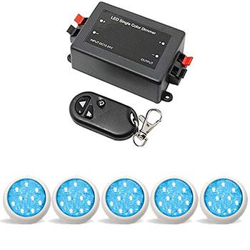 Led Piscina - Kit 5 Led Monocromático 9w com Central e Controle