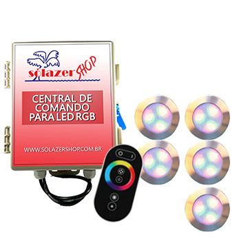 Led Piscina - Kit 5 Led RGB 12W Inox Divina Lux com Central e Controle