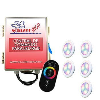 Led Piscina - Kit 5 Led RGB 6W ABS Divina Lux com Central e Controle